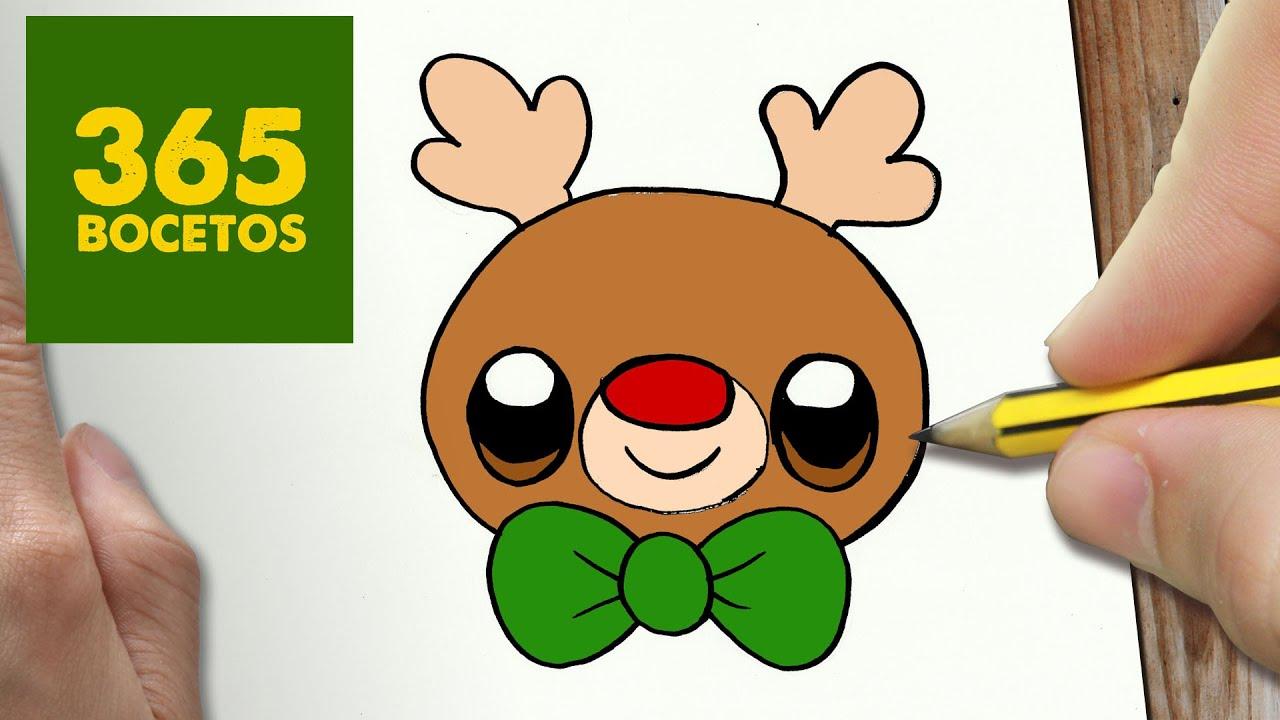 Como Dibujar Un Rudolf Para Navidad Paso A Paso Dibujos Kawaii Navideños How To Draw A Rudolf