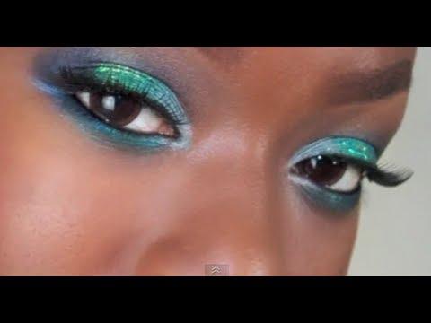 Teal Glitter amp Blue Makeup BRIGHT Eye makeup YouTube