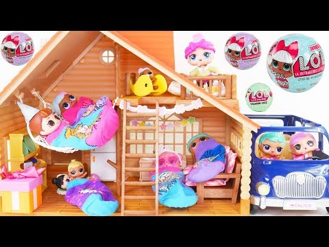 LOL Surprise Dolls + Lil Sisters go to Camping Lodge