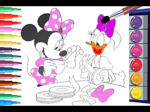 Painting Minnie Mouse And Daisy Duck Coloring Pages