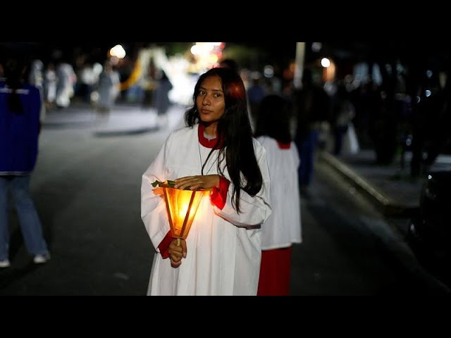Pilgrims arrive at Virgin of Guadalupe Basilica in Mexico City