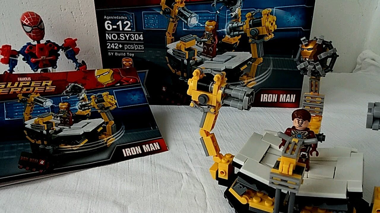 Lego Marvel Superheroes Iron Man Suit Construction Stage Sheng Yuan Bootleg  SY304