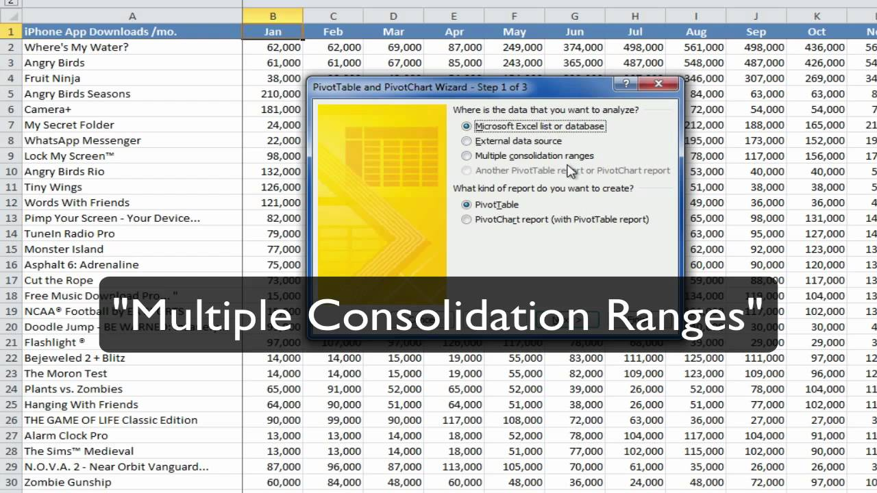 how to create a table on excel 2010