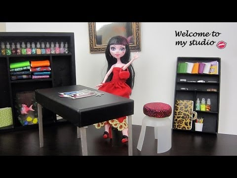 Make studio furniture Monster High Dolls:Table,chair,bookcase, etc. - Doll Crafts - simplekidscrafts