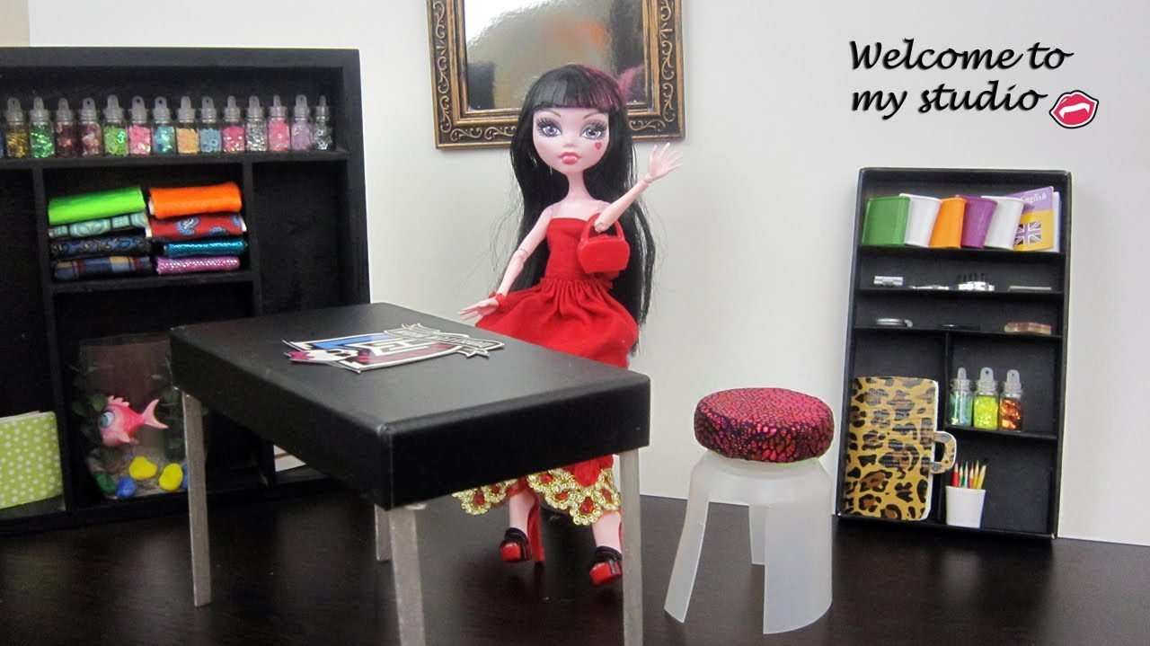 Make Studio Furniture Monster High Dolls:Table,chair,bookcase, Etc.   Doll  Crafts   Simplekidscrafts   YouTube