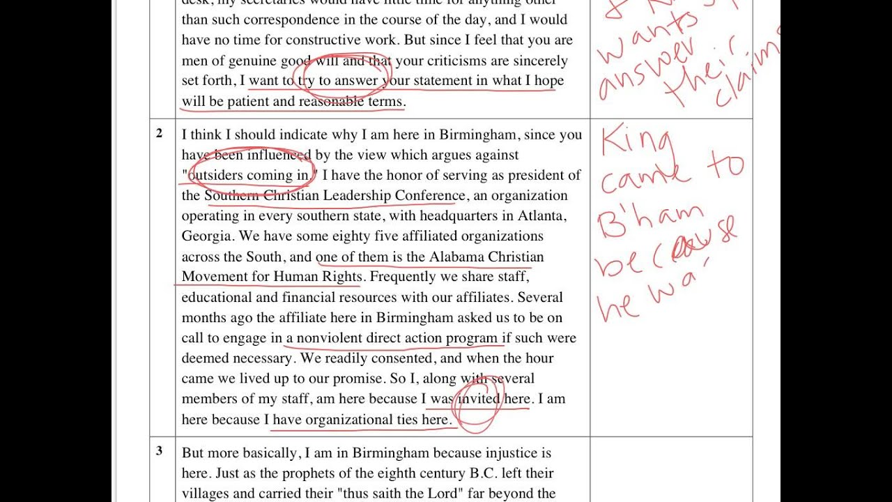 antithesis in the letter from birmingham jail –martin luther king jr, letter from a birmingham jail function: king uses antithesis in this letter to emphasize the difference in thought processes of whites and blacks he uses the comparisons and contrasts in these quotes to reveal that the white's thoughts are unjust and that the way to freedom and a.