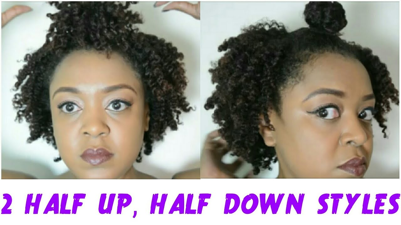 2 Curly Half Up Half Down Styles For Short Natural Hair Feat Shea