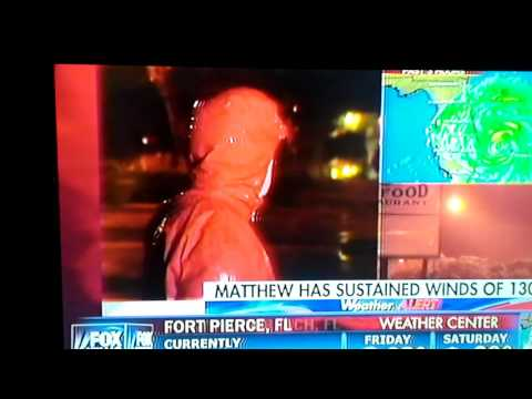 Scared Hurricane Reporter (Hurricane Matthew)