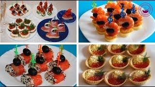 Канапе/ Рецепты канапе/ 9 канапе и закусок из морепродуктов/ Канапе на шпажках/ Canapes gourmet