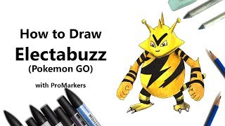 How to Draw and Color Electabuzz from Pokemon GO with ProMarkers [Speed Drawing]