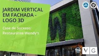 Jardim Vertical Com Logomarca 3D - Restaurante Wendy's - Vertical Garden