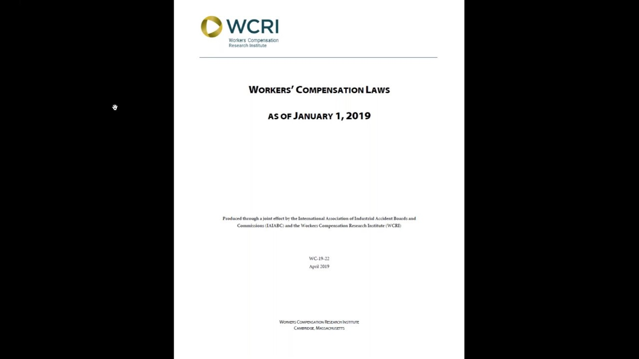 Workers' Compensation Laws as of January 1, 2019 | WCRI