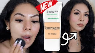 🚨NEW NEUTROGENA CLEAR COVËRAGE FLAWLESS MATTE CC CREAM|| REVIEW & WEAR TEST WORTH THE BUY OR NAW?!