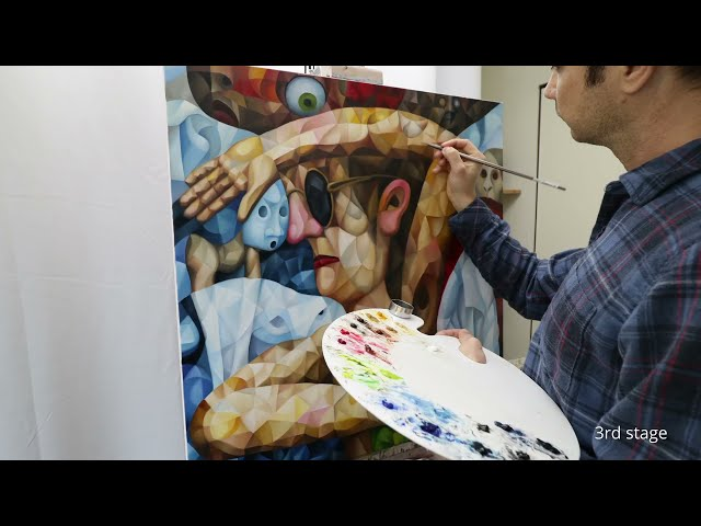 """""""Made-up Entities"""" cubism painting in making (oil on canvas, cubism, symbolism, surrealism)"""