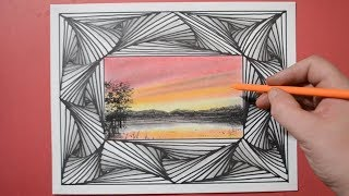 Drawing Line Illusion and Sunset Lake with Soft Colored Pastels