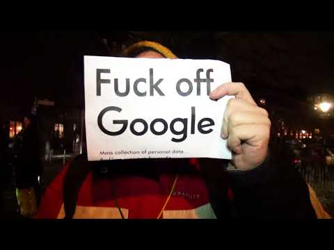 """Berlin: Noise Demo against Google Campus:  """"We don't want Google in our lives!"""""""