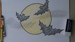 How To Draw Bats Flying Across the Moon
