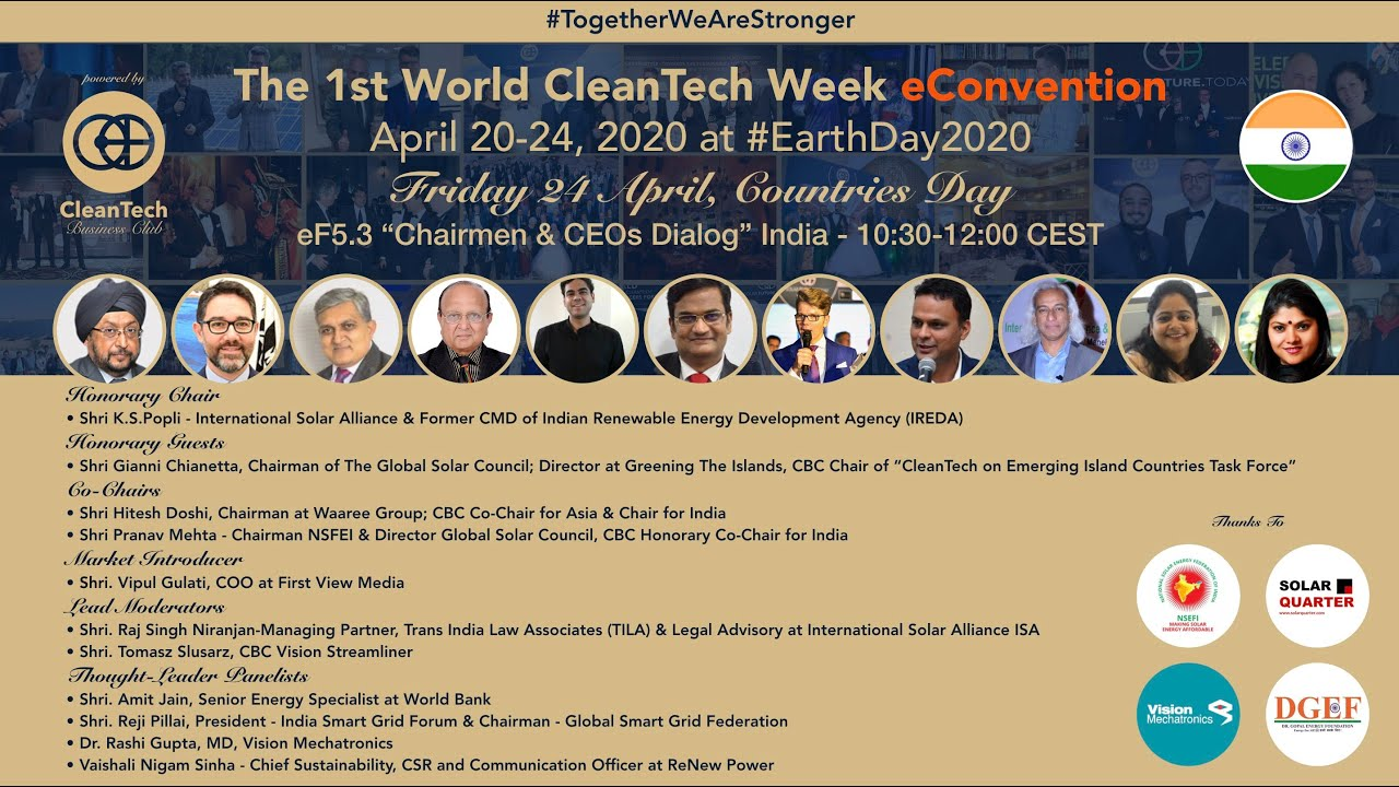 #CleanTech Chairmen & CEOs Dialog #India at The 1st World CleanTech Week eConvention #1stWCWeC