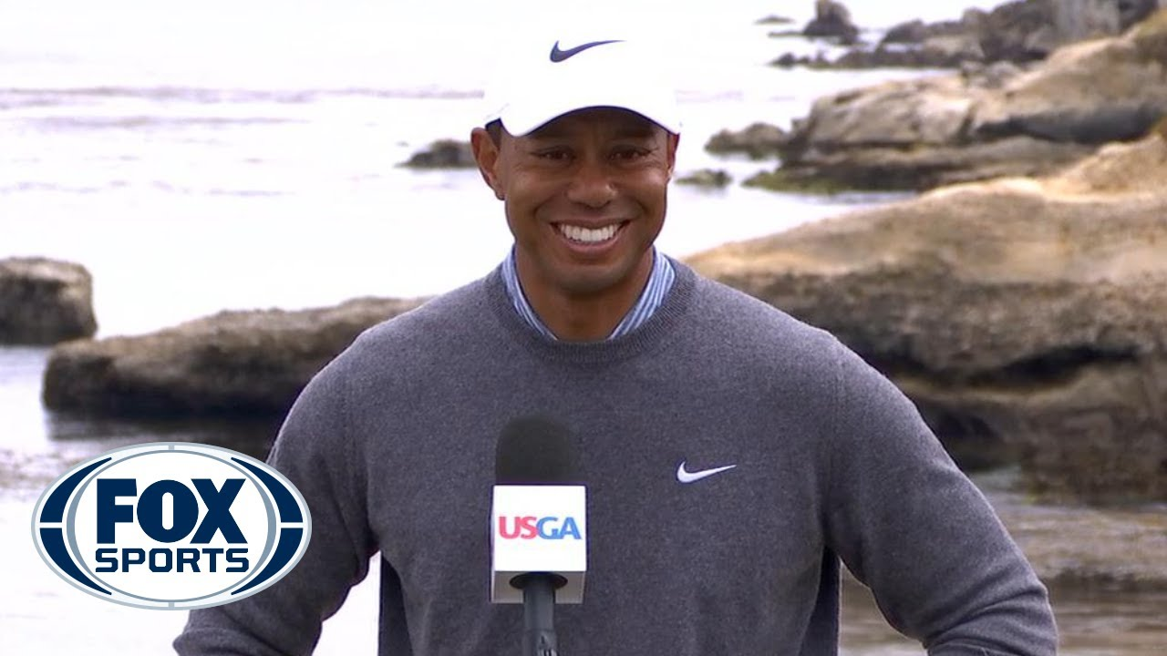 Tiger Woods talks with the media after Day 3 of the US Open | 2019 U.S. Open