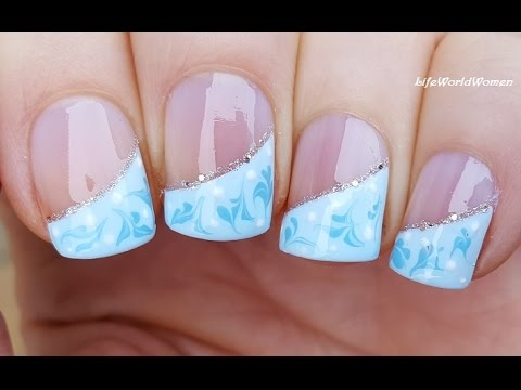DRAG MARBLE NAIL ART: Blue Winter SIDE FRENCH MANICURE