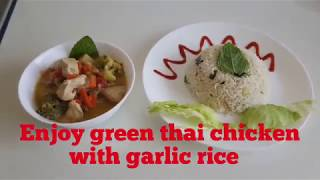 Thai Green Chicken curry | Asian green curry | Garlic rice | Asian food