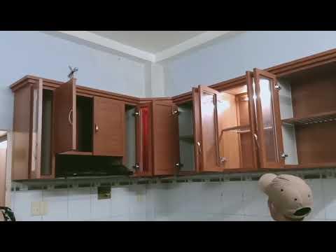 Tủ bếp nhôm hệ cao cấp mẫu vân gỗ nhạt kệ treo tường nhà bếp mini nhỏ đẹp