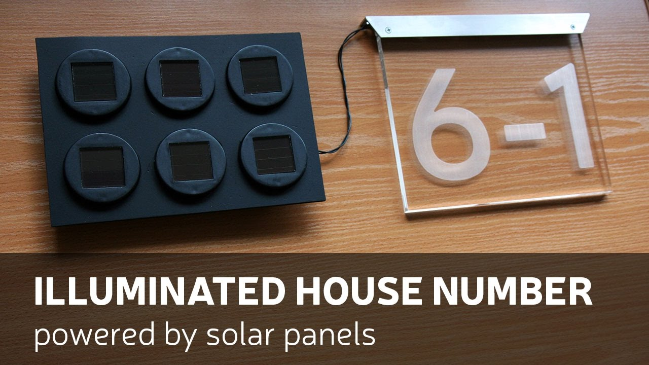 diy illuminated house number powered by solar panels. Black Bedroom Furniture Sets. Home Design Ideas