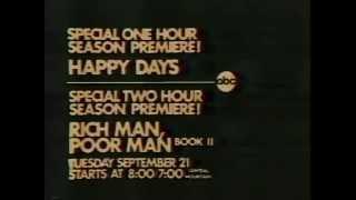 Happy Days & Rich Man Poor Man Book II 1976 ABC Promo