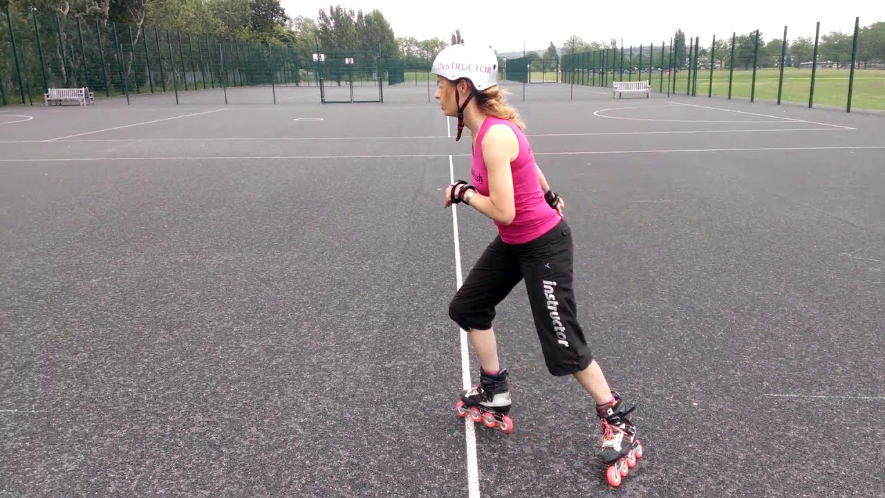 How to stop on rollerblades using the Hockey Stop. - YouTube