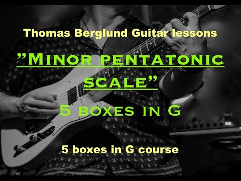 Minor pentatonic scale - 5 boxes in G - Guitar lessons