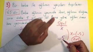 Yaş Problemleri Soru çözümü - şenol Hoca Şenol Hoca Matematik