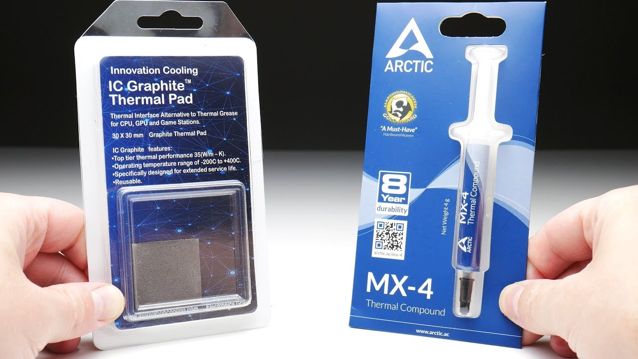 Innovation Cooling Graphite Thermal Pad Vs Arctic Mx 4 Thermal Paste Youtube