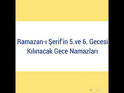 Ramazan-ı Şerif'in 5. ve 6. Gecesi...