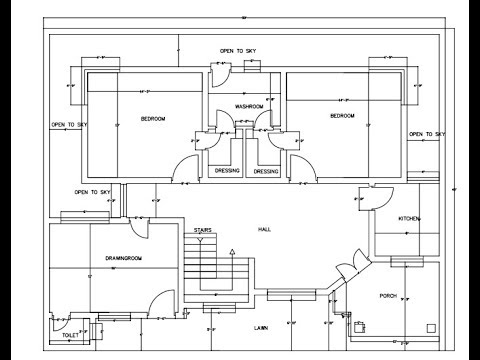 autocad how to draw a basic architectural floor plan