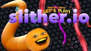 annoying orange plays slither io 1 biggest snake