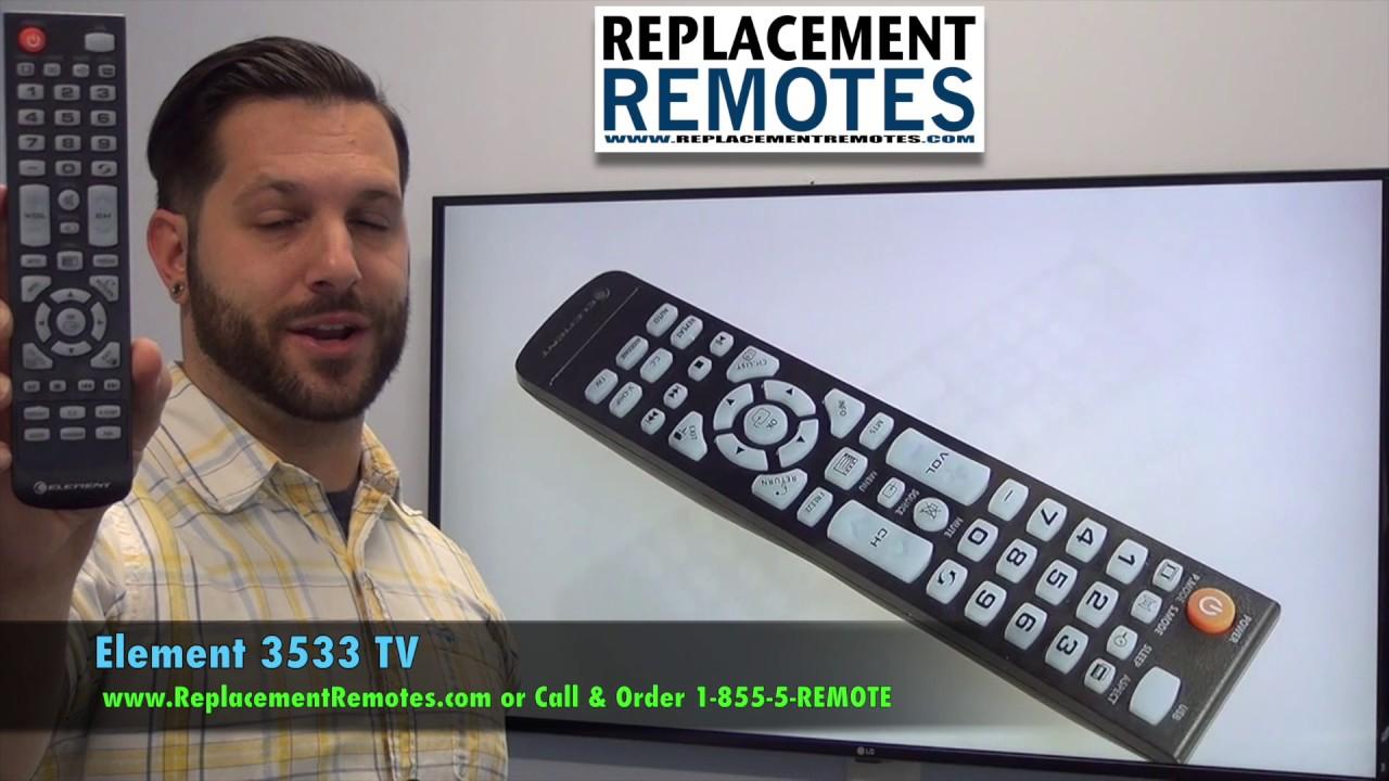 Element 3533 TV Remote Control - www ReplacementRemotes com