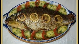 Рыба запеченная с зеленью.