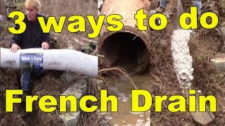 French Drain, How it works with 3 different materiels