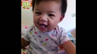 Cute baby pooping and her poopy face!