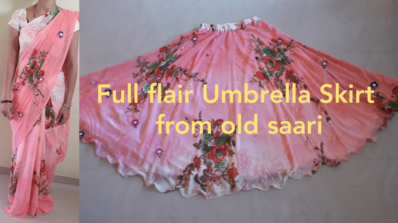 462f91b86d83b2 Full flair Umbrella Skirt with elastic From old saari Diy. - YouTube
