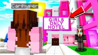 I Found A GIRLS ONLY Hotel.. So My Girlfriend Went UNDERCOVER! (Minecraft)