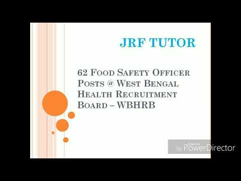 GOVERMENT JOB: 62 food safety officer post at West Bengal health recruitment.