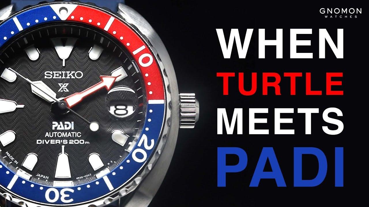 Seiko Watches Prospex Padi Turtle Mini 200m Automatic Blue Red Ref