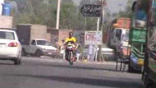 Friend Checking my 300cc Heavy Bike on Motorway Track 23--March-2010