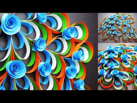 Tricolour Paper flower. Republic Day Craft. Wall Decoration Ideas 2019.