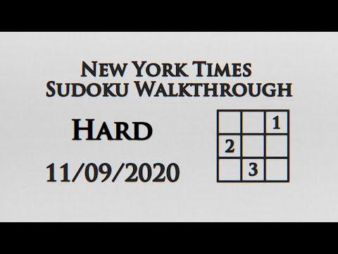 New York Times Hard Sudoku Walkthrough - 11/09/2020