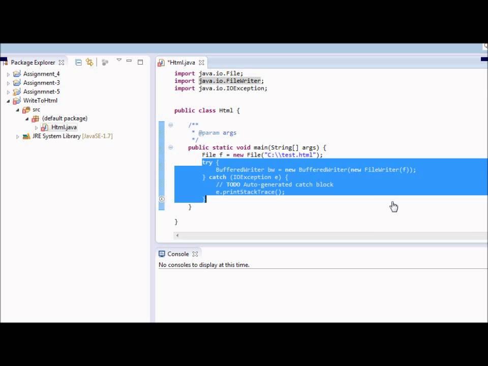 Write HTML file in Java