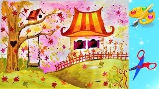 Как нарисовать осень,  осенняя сказка. Paint autumn