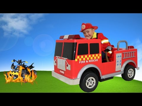 Red Fire Engine Truck Electric Battery Powered 12V Ride On Fireman Rescue Batman Ckn Toys