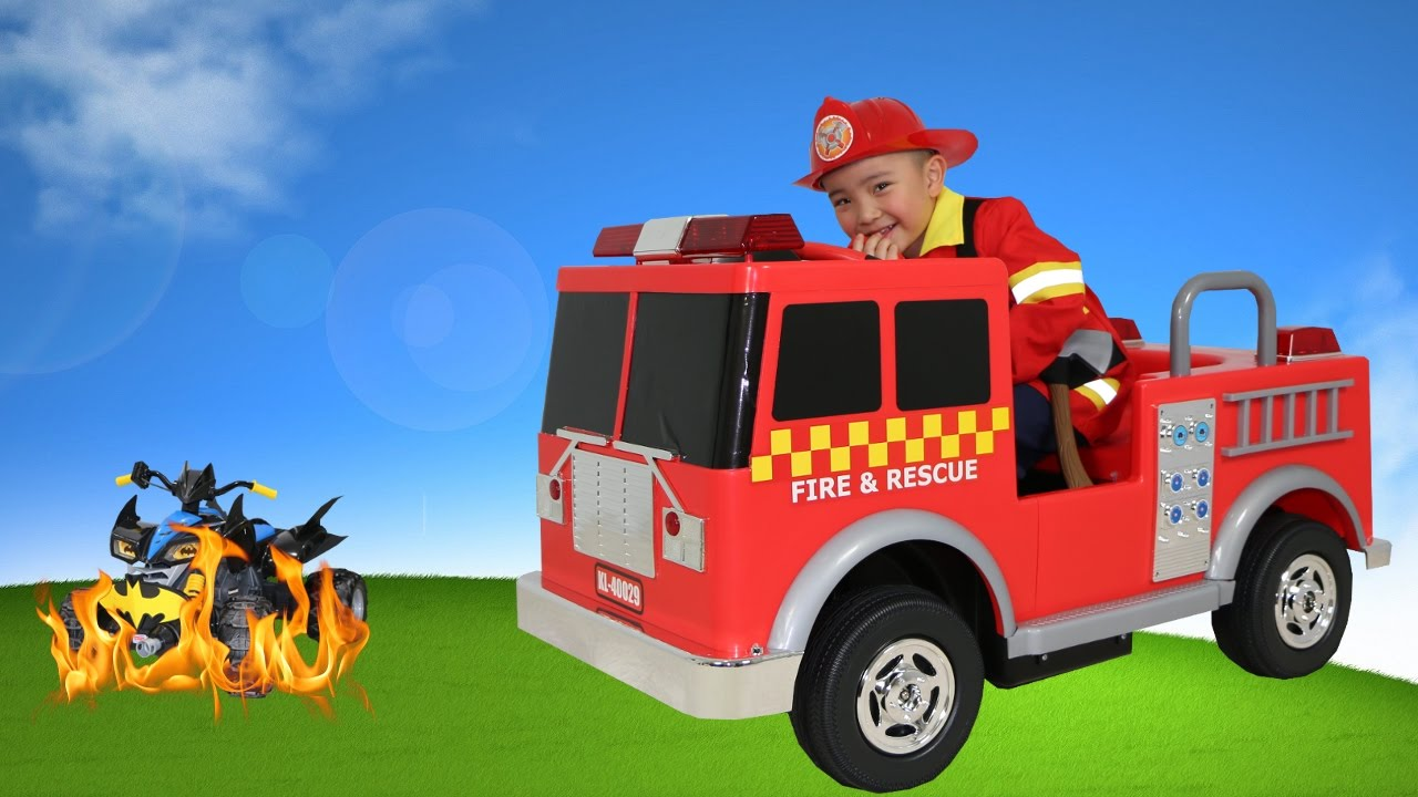 Red Fire Engine Truck Electric Battery Powered 12v Ride